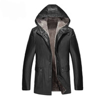 Wholesale Thicken Wool Jacket - Fall-Genuine Leather Jacket Men Hooded Winter Jackets and Coats Thickening sheepskin and Wool Business Casual Mens Leather clothing