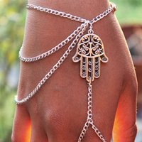 Wholesale Religious Bracelet Bulk - Fatima hand charm bracelets zinc alloy Buddha's hand long tassel chain charm bracelet for women bulk
