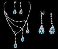 Wholesale Diamond Necklace Earring Sets - luxury Cheap Bridal Jewelry Sets Necklace and Earrings Blue Pink Diamonds Rhinestone Accessories for Prom Party Wedding 2015 Black Friday