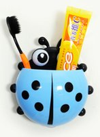 Wholesale Good Toothbrushes - 1 piece Lovely Ladybug Toothbrush Wall Suction Bathroom Sets Cartoon Sucker Toothbrush Holder   Suction Hooks wholesale price good quality
