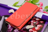 Wholesale General Wallet Leather Case - 4 inch Cell Phone Wallet Leather Case for iPhone5 5G 4 4S General Purse Credit Card Cash Slot Holder Button iPhone5 Candy Cover