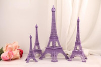 Wholesale Eiffel Tower Topper - Wedding Table Centerpieces Purple Paris Eiffel Tower Model Alloy Eiffel Tower Home Metal Craft Ornament Wedding Decoration Supplies