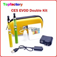 Wholesale Double Wall Plastic - EVOD CE5 E Cig Double Kits CE5 650mah 900mah 1100mah EVOD Kits 2 Batteries 2 CE5 Atomizers Double Kits with Wall Chrger Various Colors Free