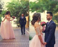 Wholesale Elegant Pink Dresses - Elegant Said Mhamad Lace Half Sleeve Evening Dresses 2015 New Arrival Floor Length A Line Long Tulle Pink Gowns Prom Dress With Beads
