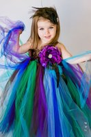 Wholesale White Peacock Feathers Wedding - Fashion Wholesale Thanks Giving Girls Dress A-Line Floor-Length With Handmade Flower Peacock Colorful Tulle Flower Girls Dresses AN 08
