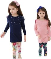 Wholesale Wool Leggings Girls - 2016 New fashion Girls clothes Baby Girl Clothing Set Children Flower Suit 2PCS Kids Twinset Top T Shirt +Plaid Pants Leggings Fall suit