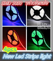 Wholesale White Smd Led Number - 4pcs 5M 5050 warm white red blue green yellow rgb 300Leds Led Strips light 60Leds m DC12V with tracking number