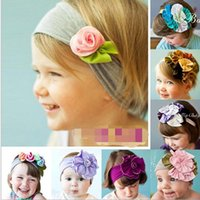Wholesale Childrens Flower Tops - TOP BABY Girls Hair Ornaments Baby Flower Headbands Childrens Hair Accessories