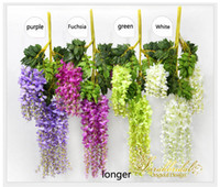 Wholesale bridal vine for sale - Beautiful Artificial Flowers Simulation Wisteria Vine Wedding Decorations Long Short Plant Bouquet Room Office Garden Bridal Accessories