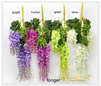 Wholesale Garden Tables - Beautiful Artificial Flowers Simulation Wisteria Vine Wedding Decorations Long Short Plant Bouquet Room Office Garden Bridal Accessories