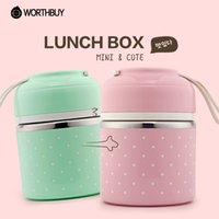 Wholesale Metal Lunch Boxes - Portable Cute Mini Japanese Bento Box Leak-Proof Stainless Steel Thermal Lunch Boxs Kids Picnic Food Storage Container N