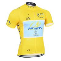 tour francia mangas cortas ciclismo al por mayor-2014 TOUR DE FRANCE ASTANA PRO TEAM AMARILLO SOLO MANGA CORTA CAMISETA CICLISMO DE ROPA CICLISMO JERSEY CICLO DE DESGASTE TALLA: XS-4XL