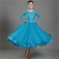 New Adult Ballroom Dance Dress Modern Waltz Standard Competition Dance Dress Sexy Round Neck Long Sleeve Dress 4Color S-2XL 004