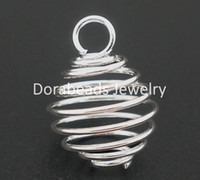 Wholesale Bead Pendant Free Shipping - Wholesale-Free Shipping! 50 PCs Silver Plated Spiral Bead Cages Pendants Findings 14x15mm (B04109)