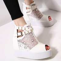 Wholesale Wedge Sandals Shoes For Women - 2016 Embroidery white lace buckle rivets platform wedge sandals wedding shoes for women Size 34 to 39