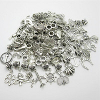 Wholesale Diy Slider Charms - Mixed Style 50pcs lots Tibetan Silver Slider Spacer Beads Charms big hole pendant fit Round charm bracelet DIY pendants for jewelry making