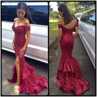 Wholesale Womens Red Sequin Dresses - Stunning Off Shoulder Burgundy Mermaid Prom Dresses 2016 Sequined Sexy Front Slit Long Evening Dress Custom Womens Formal Gowns