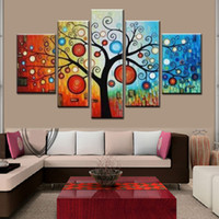 Wholesale Large Piece Artwork - 5 Piece Hand painted modern abstract apple tree oil painting on canvas large bright canvas art cheap home decoration artwork pictures t89