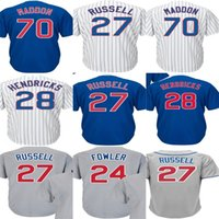 Wholesale Addison Russell - 2017 WS Patch Chicago 28 Kyle Hendricks 24 Dexter Fowler 70 Joe Maddon 27 Addison Russell 100% stitched Baseball Jerseys