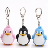 Wholesale Jewelry Doll Holders Wholesale - 3 PCS lot Cute Mini Penguin LED Light Keychain With Sound Car Keyring Holder Trinket Plastic Doll Women Bag Jewelry Gift New