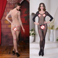 Wholesale Long Sleeves Bodystocking - Plus Size Bodystocking Long Sleeve Floral Crochet Fishnet Crotchless Body stocking Printed Open Crotch Lingerie Mesh Sexy Bodysuits