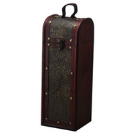 Wholesale Wine Wooden Box - Red Wine Box Vintage Retro Wooden Single Vertical Antique PU Leather Box Vessel Wine Case Bar Business Xmas Christmas Gifts