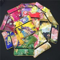 Wholesale Packaging Bags China - Bronzing Flower Small Silk Brocade Bag Zipper Gift Packaging Tassel China Coin Purses Jewelry Bracelet Bangle Storage Pouch Wedding Favors