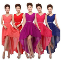 Wholesale Dresses Show - 2015 Short dress new specials shoulders wedding toast before taking short after long bridesmaid show host prom dresses