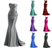 Wholesale Stock Custom Evening Dress - 2016 IN STOCK Mermaid Bridesmaid Dresses Cheap Burgundy Silver Gray Purple Blue Maid of Honor Dress Evening Gowns Prom Dress Lace Up Beading