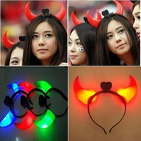 Wholesale Cheer Horns - 100pcs lot Party Rave Toys Light-emitting Devil Horn Headband Hairpin For Adults and Kids Halloween Xmas Concert Cheering Supplies