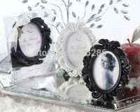 Wholesale Baroque Wedding Favor - Baroque style oval black white Resin Photo Frame Place card Holder wedding favors party gifts for guests 100pcs wholesale