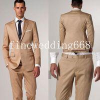 Wholesale Side Slit Notch Lapel Two Buttons Classic Fit Groom Tuxedos Wedding Party Groomsman Suit Wedding Party Suit Jacket Pants Tie Vest