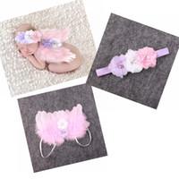 Wholesale Pink Chiffon Hair Bow - Baby Angel Wing + Chiffon flower headband Photography Props Set newborn Pretty Angel Fairy Pink feathers Wing Costume Photo Prop YM6101