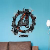 ingrosso adesivi 3d super hero-3D Avengers Vinile Adesivi murali per bambini Camere Decalcomanie da muro in pvc Le figure di Supereroi Home Decor Decorazione della stanza del ragazzo