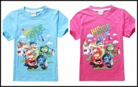 Wholesale Clothing Inside Cotton - 2015 girls inside out 5 emotions printing T shirt Kids girl cartoon short sleeve cotton shirts summer clothing J071402# DHL
