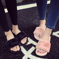 Wholesale Women S Sandals Slippers - 2017 New Women Summer Slippers Fenty Slipper Rihanna Shoes Sandals Flip Flop Plush Cute Furry Mule Lady's Flip Flop Shoe