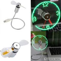 Wholesale Shipping Clocks China - Top Fashion computer Fan Stock China free Shipping New 2015 Usb Mini Flexible Time Clock Fan with Led Light - Cool Gadget