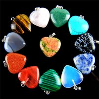 Wholesale Polished Stone Jewelry - Lots Heart Jewelry natural Stone Gemstone Pendants High Polished Loose Beads Silver Plated Hook Fit Bracelets and Necklace DIY #B79y