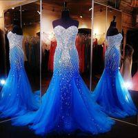 tüll strasssteine großhandel-Hot Royal Blue Sexy Elegante Mermaid Prom Kleider für Pageant Sweetheart Frauen Lange Tüll mit Strass Runway Formale Abendgesellschaft Kleider
