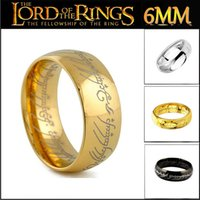 Wholesale Wholesale Black Mens Ring - The Hobbit And The Lord Of The Rings 18K Black Silver Plated Ring Stainless Steel Mens Rings Jewelry Size 6 -12 10pcs lot