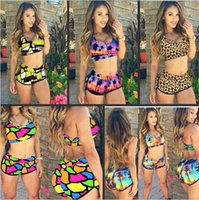 Wholesale High Waist Bikini Cheap - Romantic Sunset Print Sporty Bathing Suit Bikini Swimsuit 4289 sexy women summer style cheap swimwear maillot de bain