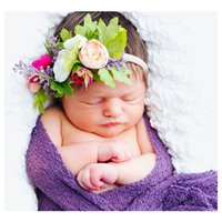 Wholesale Handmade Crown Baby - New Baby Girl Nylon Headbands Faux Flower Soft Hair Band Kids Floral Crown Hair Accessory Handmade Photography Props A7888