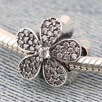 Wholesale Beads 925 Silver Swarovski - Silver Swarovski Elements Charm Beads Fashion Jewelry Flower Shape Beads 925 Original Big Hole Loose Beads Pandora Charms 925 ale PX0020-1B