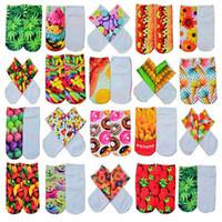 Wholesale cool 3d socks - Wholesale-1 Pair Unisex Fashion Cool Vivid 3D Printed Patterns Anklet Socks Slippers Hosiery 6L7T
