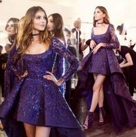 Wholesale zuhair murad vintage ball for sale - New Stunning Zuhair Murad Evening Dresses High Low Long Sleeve Prom Cocktail Dress Sparkly Beads Detail Arabic Occasion Party Gowns