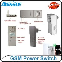Wholesale Gsm Temperature Control - GSM Power Socket GSM Relay SMS Remote Control Controller Switch Quad Band w Temperature Sensor Home Automation, DHL EMS