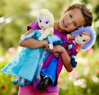 Wholesale Kids Western Dresses - Free Shipping Hot Sale Children Frozen Dolls Princess Elsa Anna Cartoon Toys Kids Baby Soft Toy Snow Queen Doll C408001