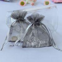 "Wholesale Organza Gift Bags Green Dark - 100pcs bag Dark Silver 3""x3.5"" 7x9cm Strong Sheer Organza Pouch Wedding Jewelry Gift Bags PUH-09"