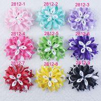 Wholesale Kanzashi Hair Clips - Baby handmade Headwear 4inch ribbon Bowknot Romantic boutique Coiled flowers hair clips bows Kanzashi girl hair accessories HD3552