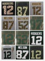 Wholesale Service Camps - Mens #12 Tom Brady Jersey 21 Clinton-Dix Stitched 87 Nelson 52 Matthews 33 Adams Olive Salute To Service 12 Rodgers 87 Gronkowski Jerseys